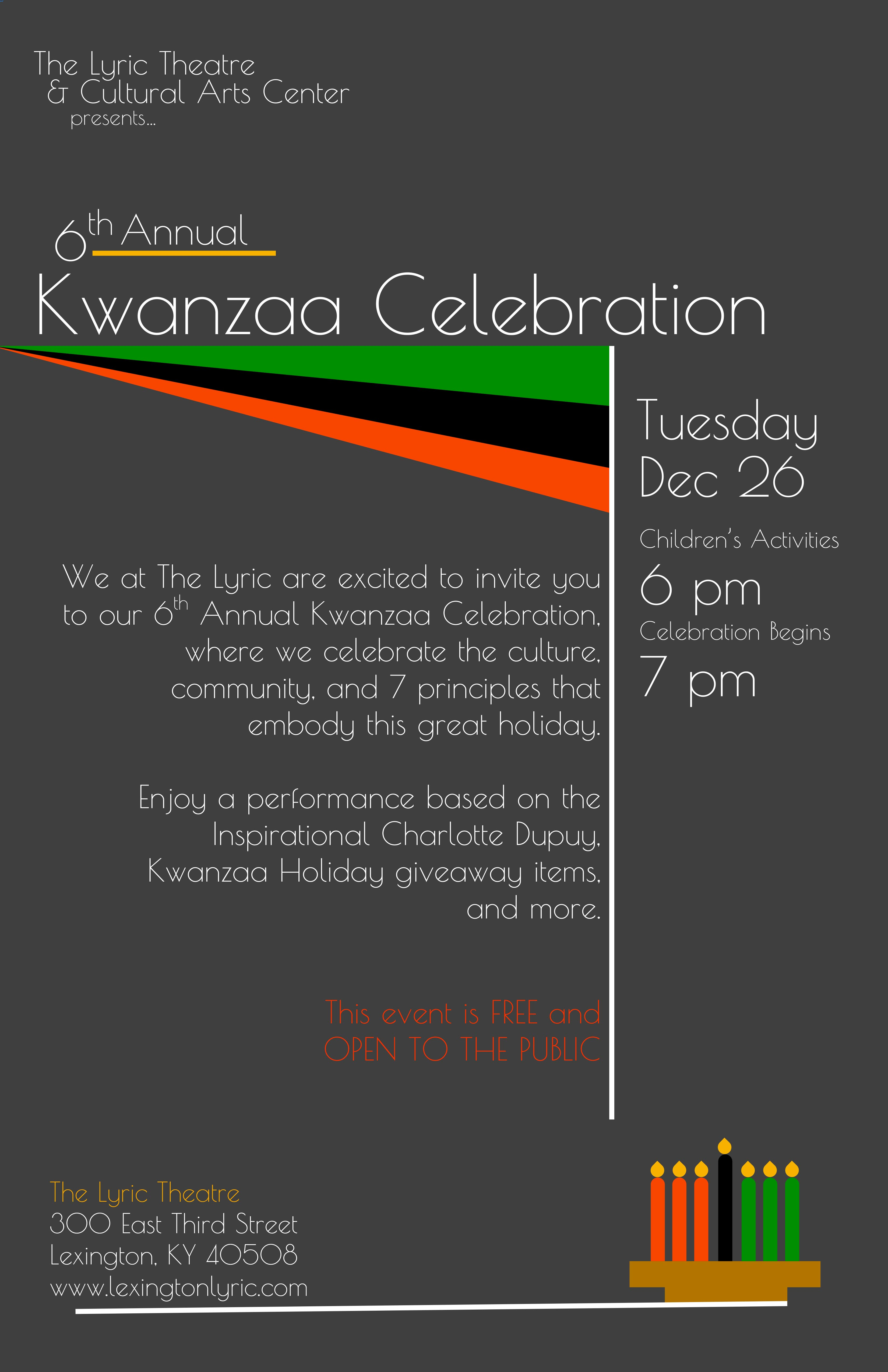 Lyric theatre and cultural arts center we at the lyric are excited to invite you to our 6th annual kwanzaa celebration where we celebrate the culture community and 7 principles that embody stopboris Images
